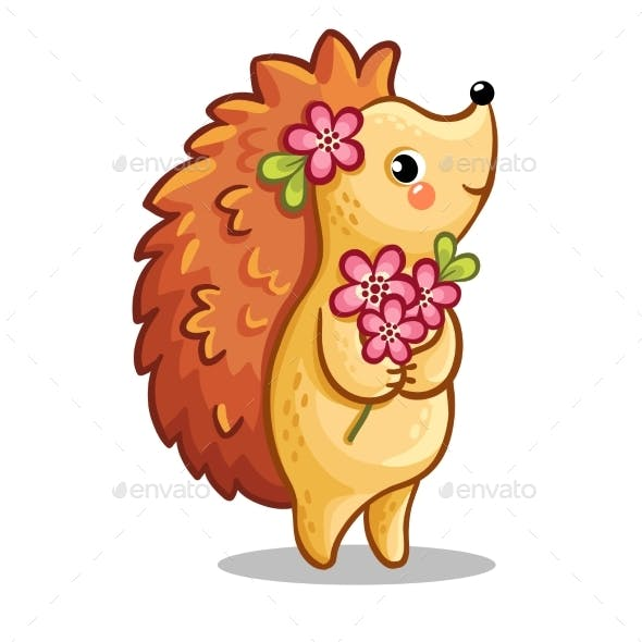 Hedgehog with Bouquet of Flowers
