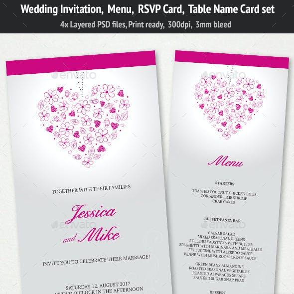 Wedding Invitation, Menu & RSVP Card Set