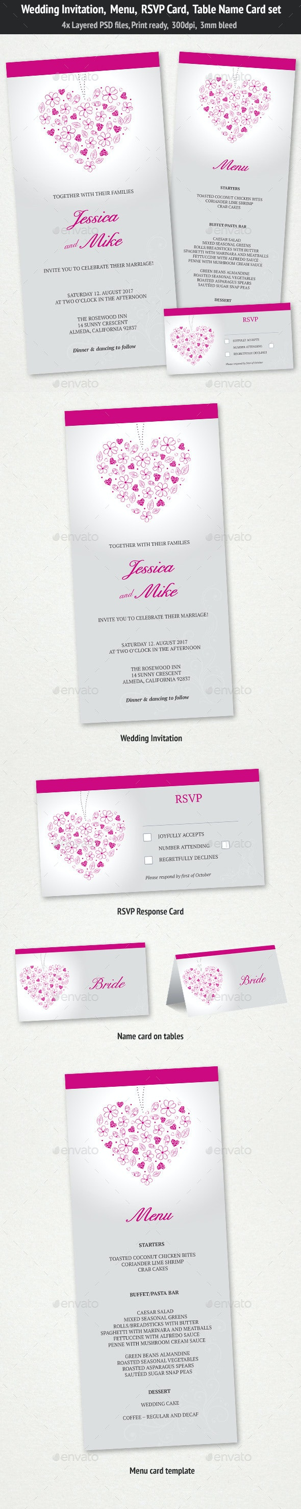 Wedding Invitation, Menu & RSVP Card Set - Weddings Cards & Invites
