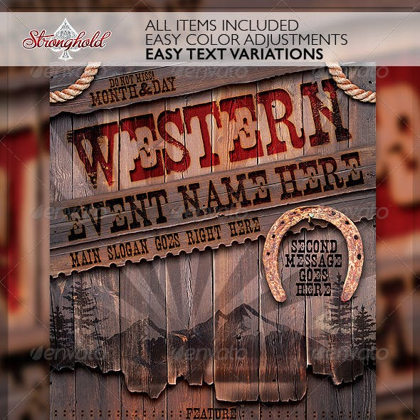 Vintage Western Wood Flyer Template
