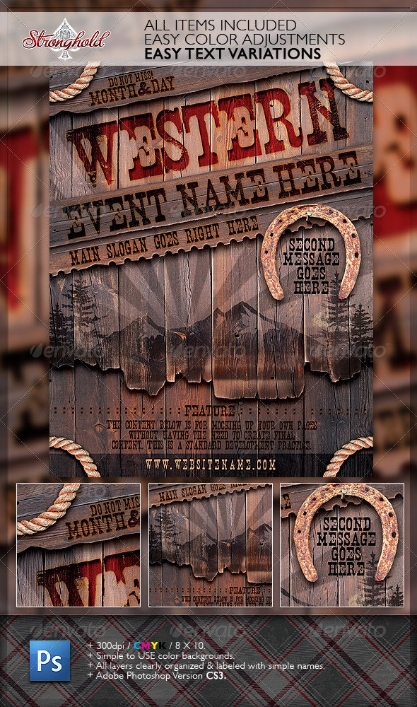 Vintage Western Wood Flyer Template - Miscellaneous Events