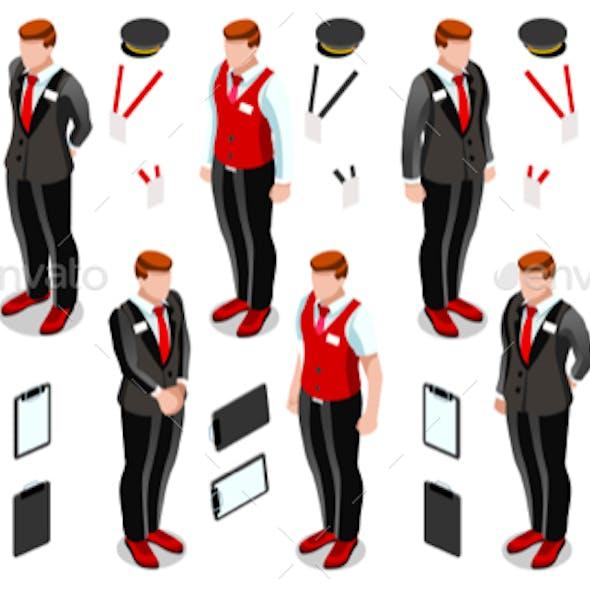 Isometric Person Work Icon Set