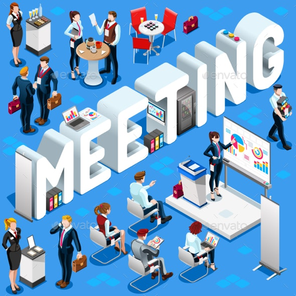 Meeting Isometric People 3D Set Vector Illustration - Concepts Business