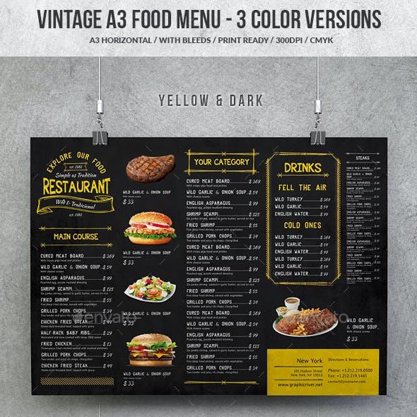 Vintage A3 Food Menu - 3 Color Versions
