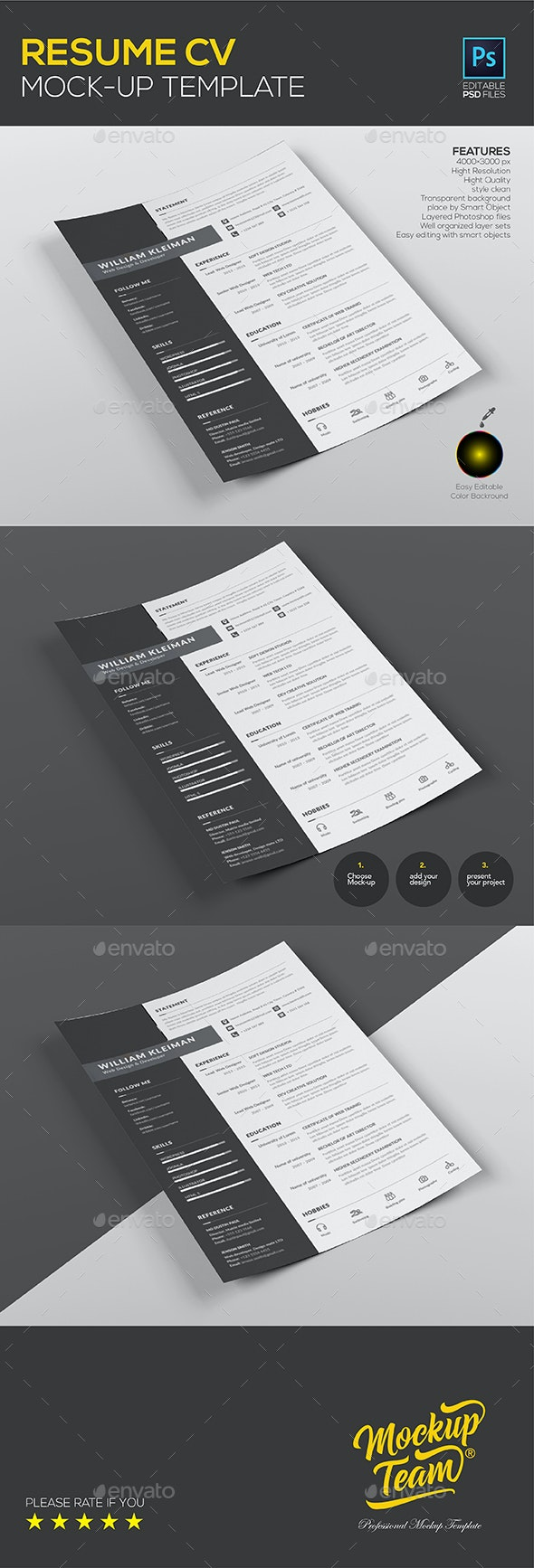 Resume CV Mock up Template - Print Product Mock-Ups