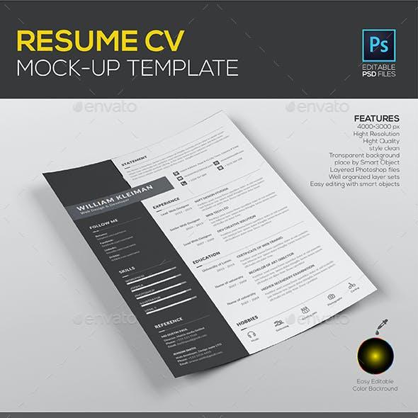 Resume CV Mock up Template