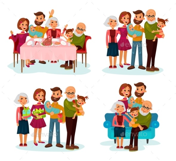Family at Dinner Table, on Sofa and with Gifts - People Characters