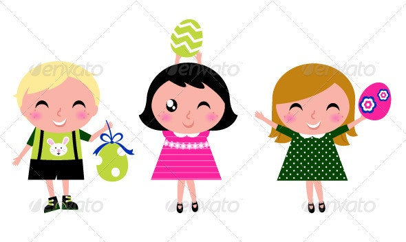 Cute retro easter kids with eggs isolated on white - Seasons/Holidays Conceptual
