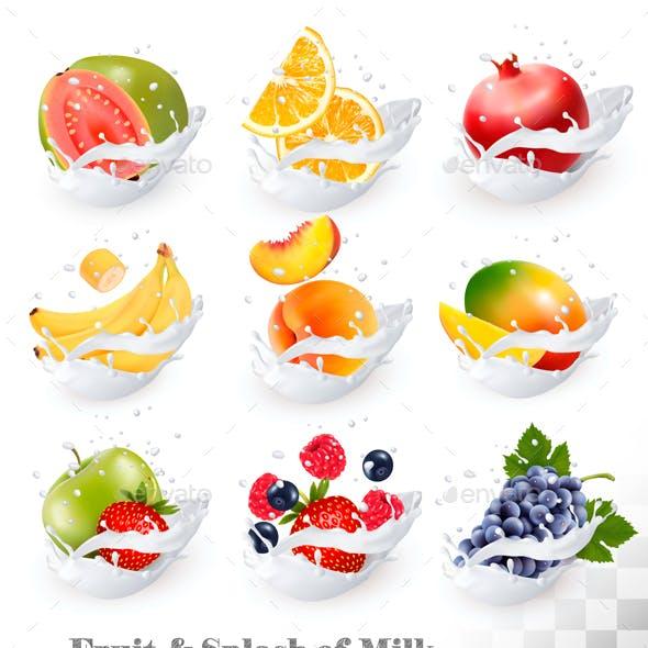 Big Сollection Of Fruit And Berries In Milk Splash.