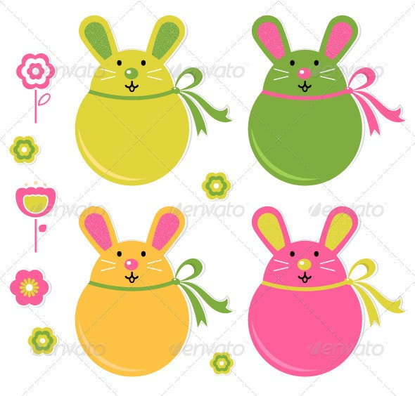 Colorful easter bunny stickers set - Seasons/Holidays Conceptual