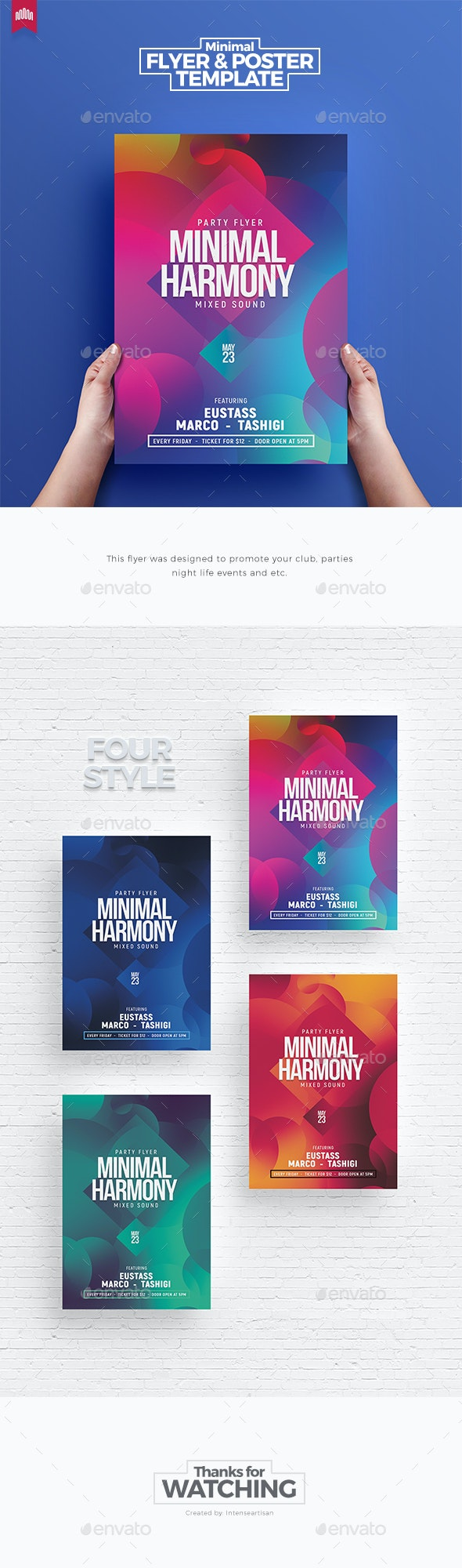 Minimal Harmony - Flyer Template - Clubs & Parties Events