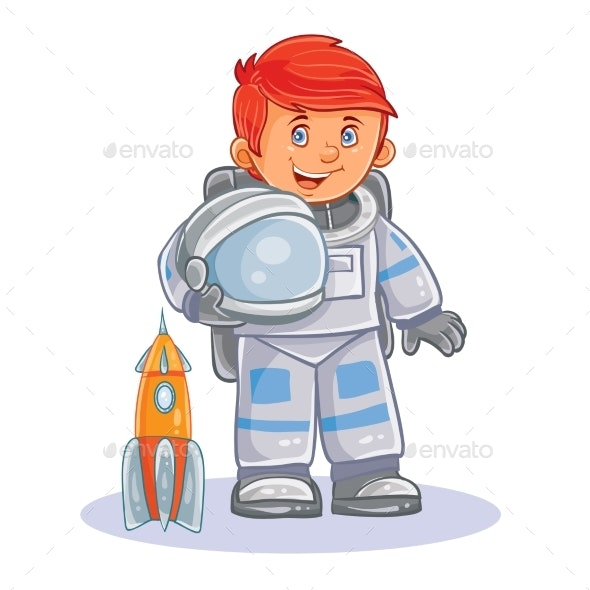 Vector Icon of Small Child Astronaut in a Space - People Characters