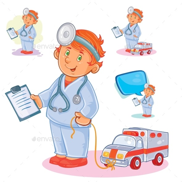 Set Vector Icons of Small Child Doctor and His Toy - People Characters