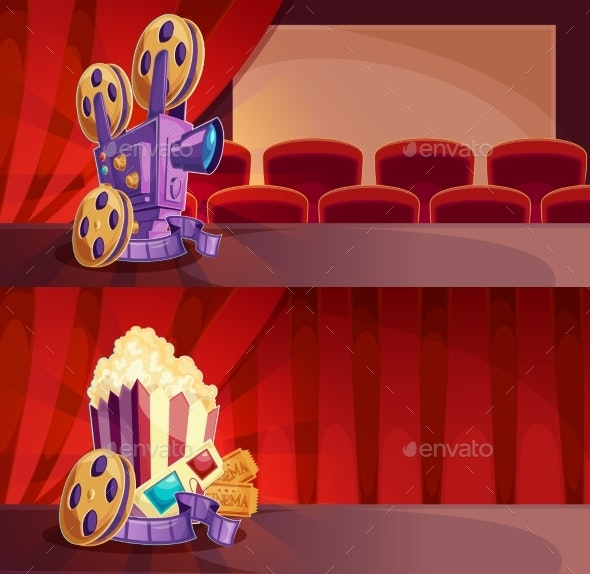 Set of Vector Cartoon Banners with a Cinema Hall - Backgrounds Decorative