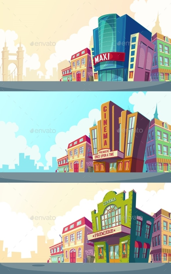 Set Vector Cartoon Illustration of an Urban - Buildings Objects