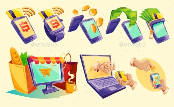 Isometric Icons of Mobile Phones, Laptop - Computers Technology