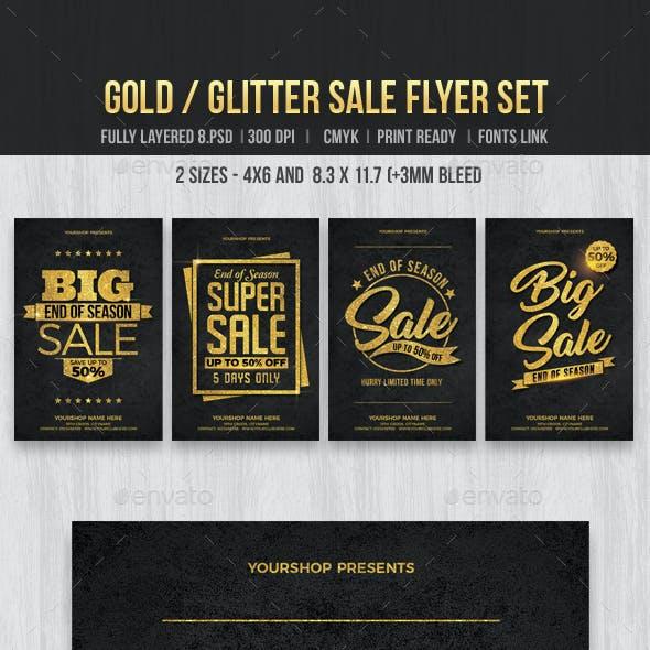 Gold Glitter Sale Flyer Set