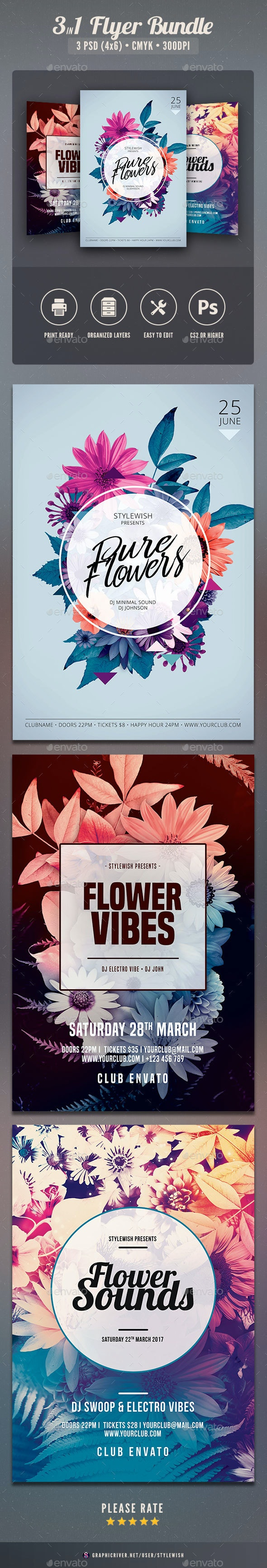 Hipster Flowers Flyer Bundle - Clubs & Parties Events