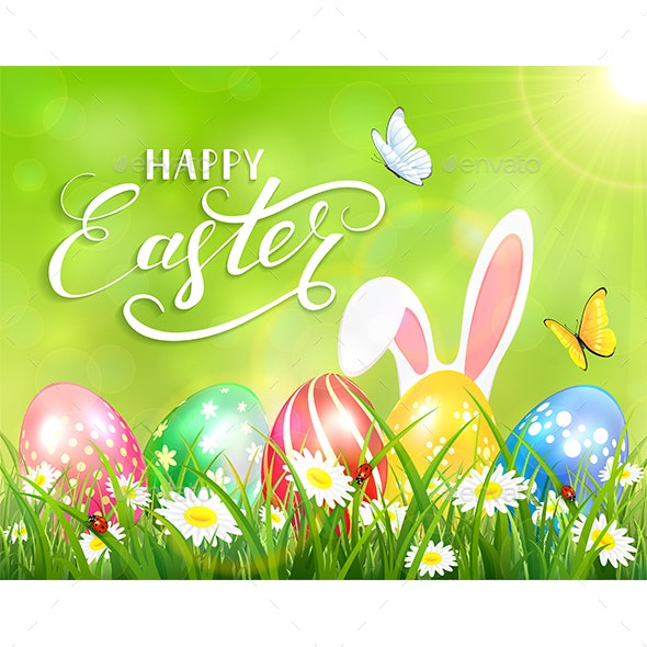 Happy Easter on Green Background with Bunny and Eggs - Miscellaneous Seasons/Holidays