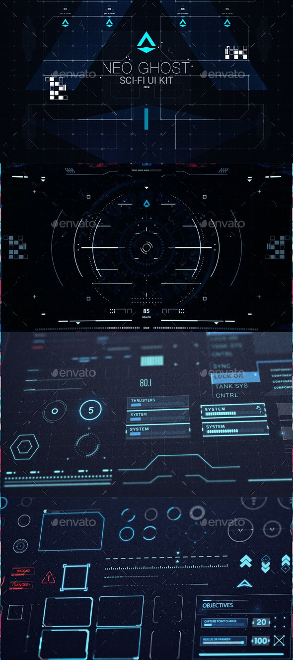 Neo Ghost - Sci Fi UI / HUD Kit - User Interfaces Game Assets
