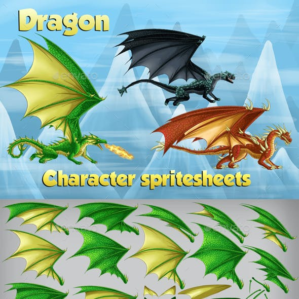 2D Game Dragon Character Spritesheet