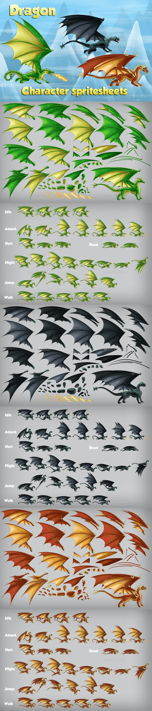 2D Game Dragon Character Spritesheet - Sprites Game Assets