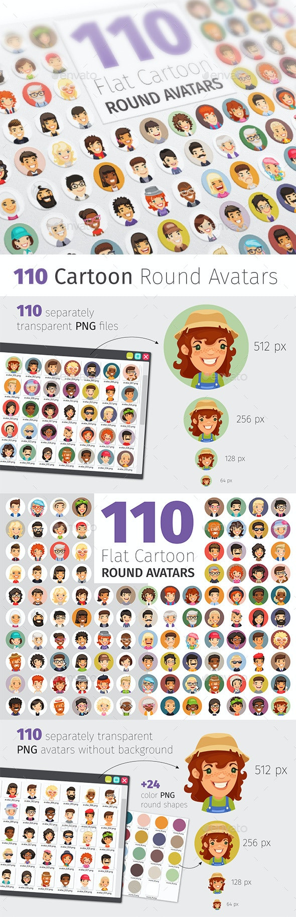 Flat Cartoon Round Avatars Big Collection - People Characters