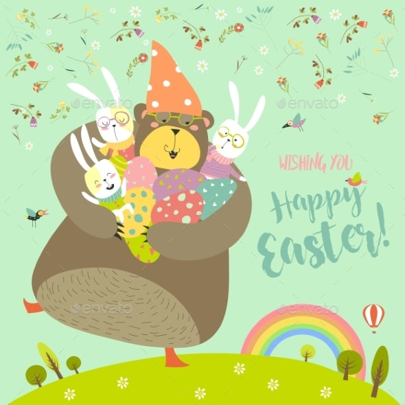 Happy Easter Greeting Vector Illustration - Miscellaneous Seasons/Holidays