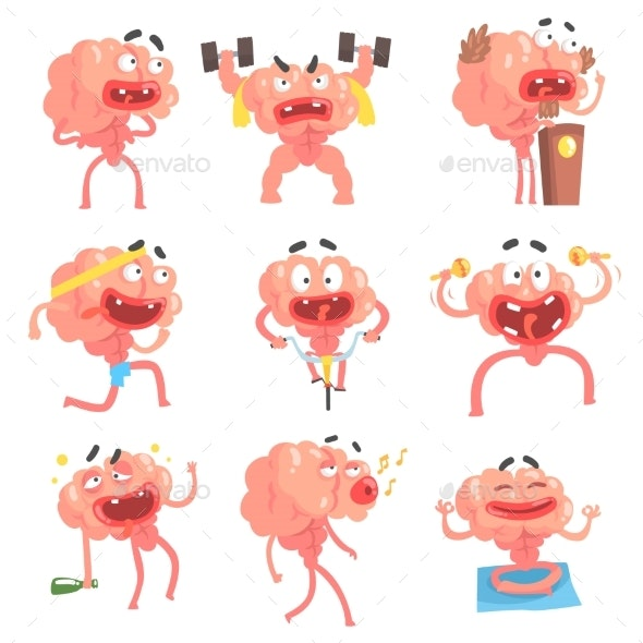 Humanized Brain Cartoon Character - Miscellaneous Characters