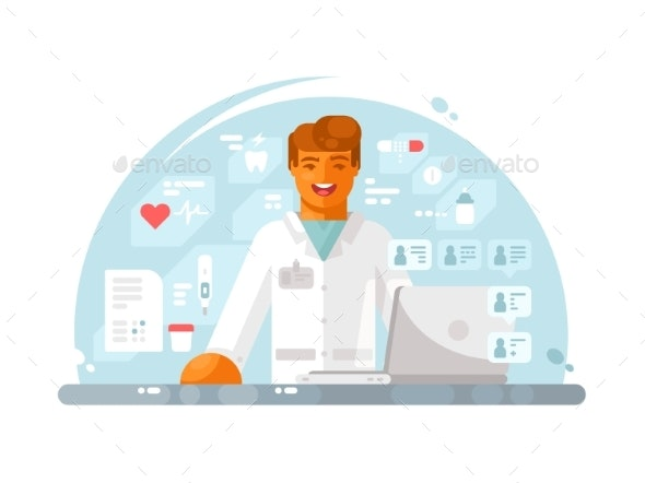 Online Doctor Consultation - People Characters