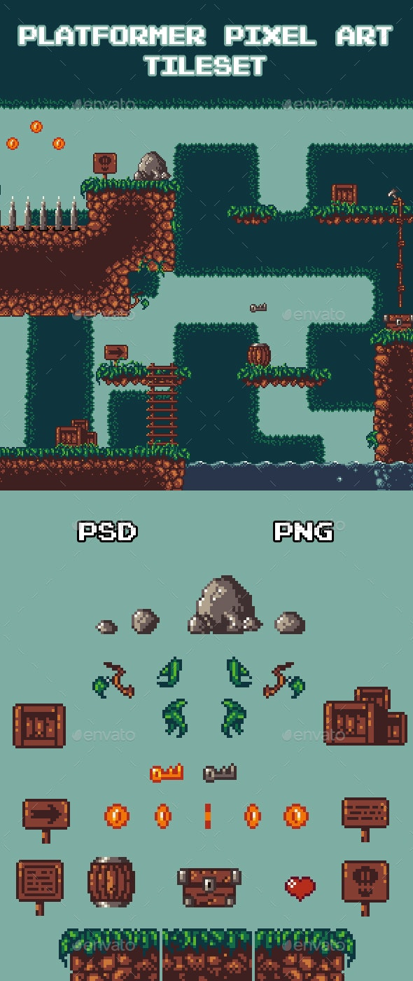 Platformer Pixel Art Tileset - Tilesets Game Assets