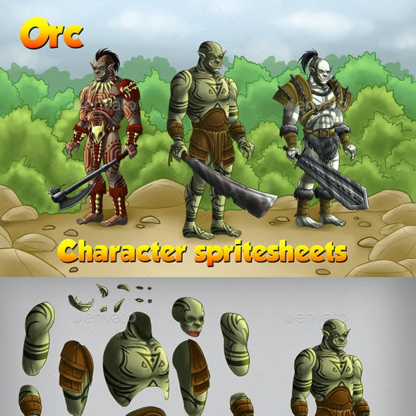 2D Game Orc Character Spritesheet