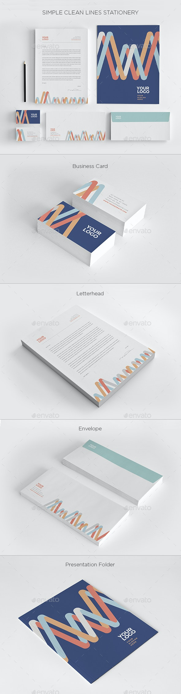 Simple Clean Lines Stationery - Stationery Print Templates