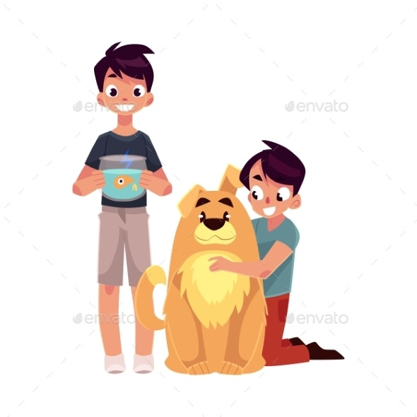 Two Boys Hugging Fluffy Dog - People Characters