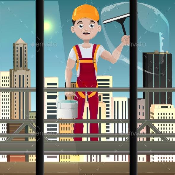 Cartoon Window Cleaner - People Characters