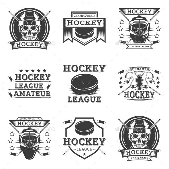 Hockey Set of Vector Vintage Logos - Sports/Activity Conceptual