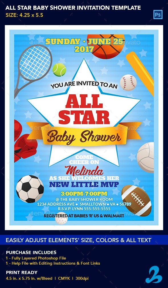All Star Baby Shower Invitation Template - Invitations Cards & Invites