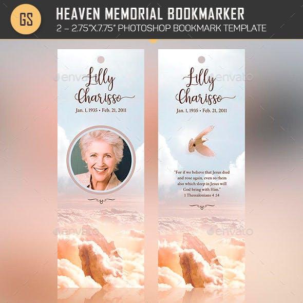 Heaven Memorial Bookmarker Template
