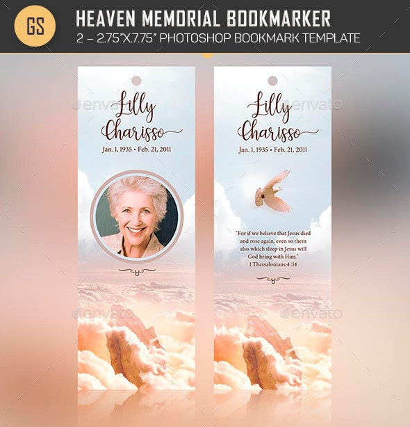 Heaven Memorial Bookmarker Template - Stationery Print Templates