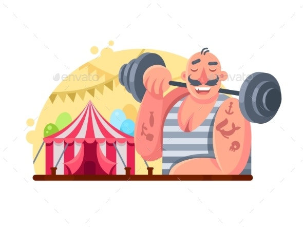 Circus Weight Lifter - People Characters