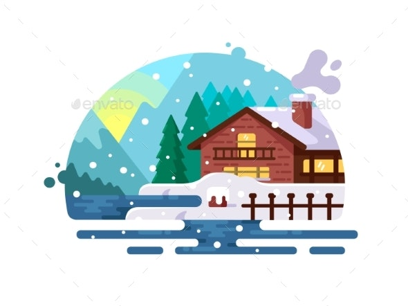 Wooden House on Lake Shore - Buildings Objects