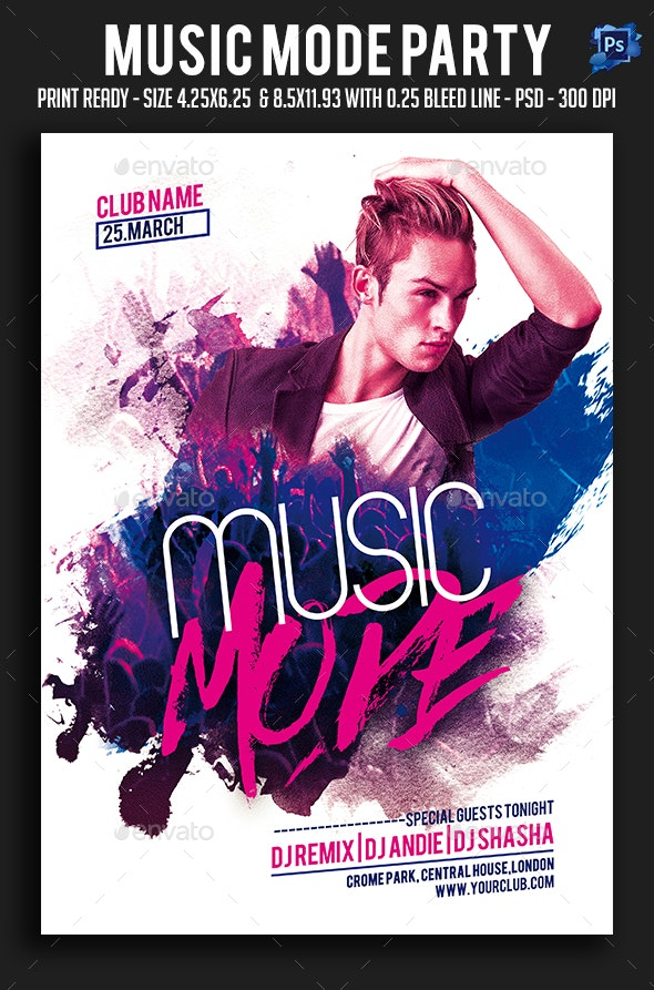 Music Mode Party Flyer - Clubs & Parties Events