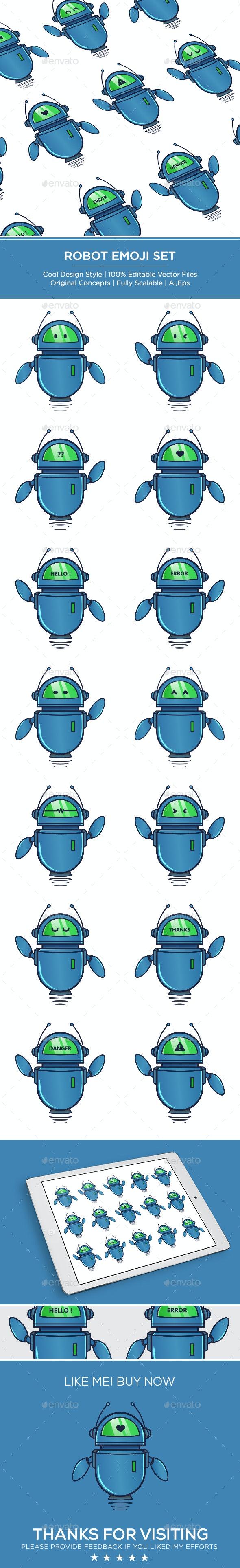 Cute Blue Robot Set - Vectors