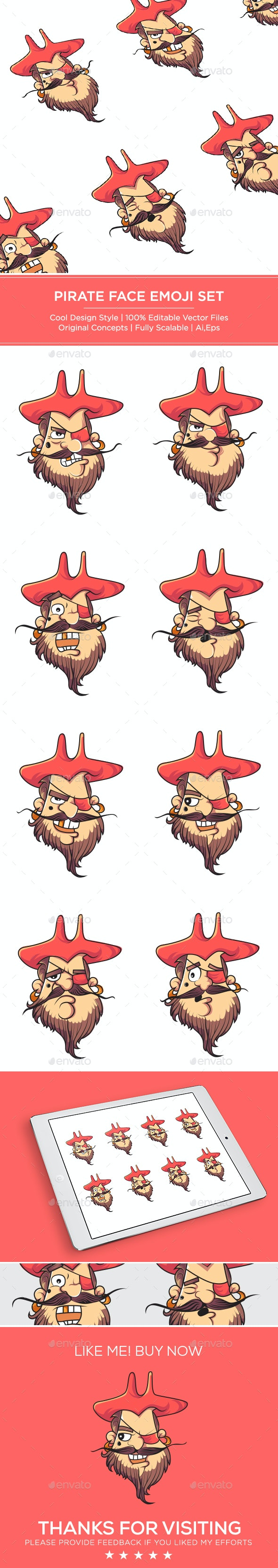 Pirate Face Emoji Set - Vectors
