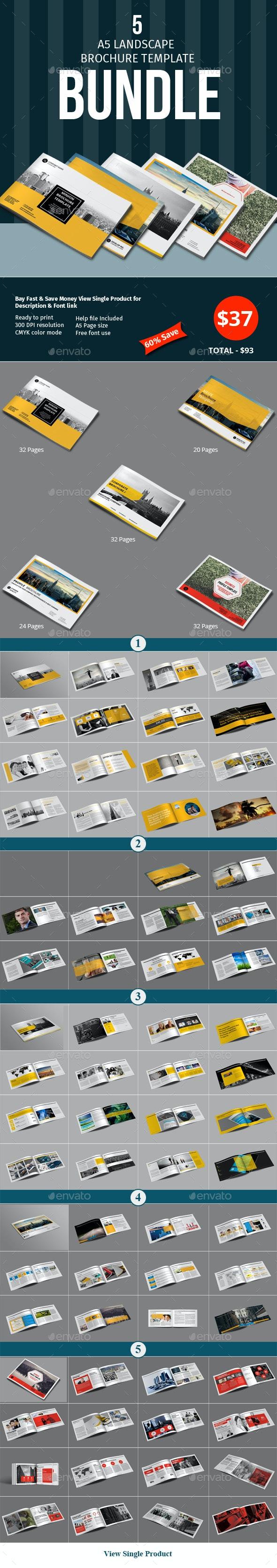 A5 Lanscape Brochure Template Bundle - Corporate Brochures
