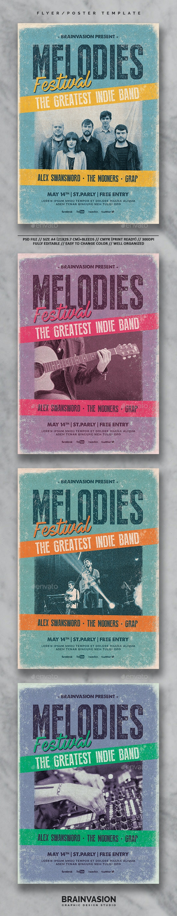 Indie Flyer/Poster Template Vol.27 - Concerts Events