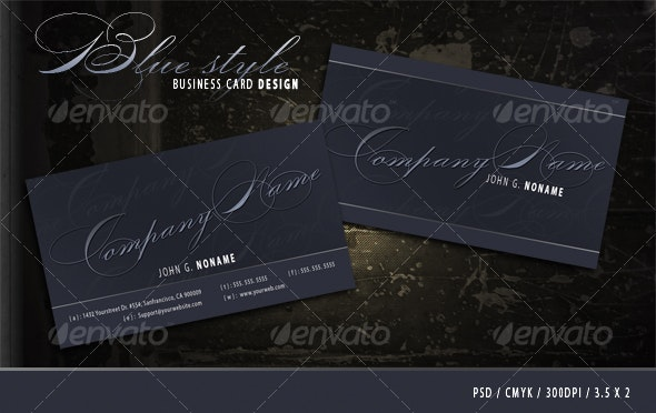Blue style business card - Retro/Vintage Business Cards
