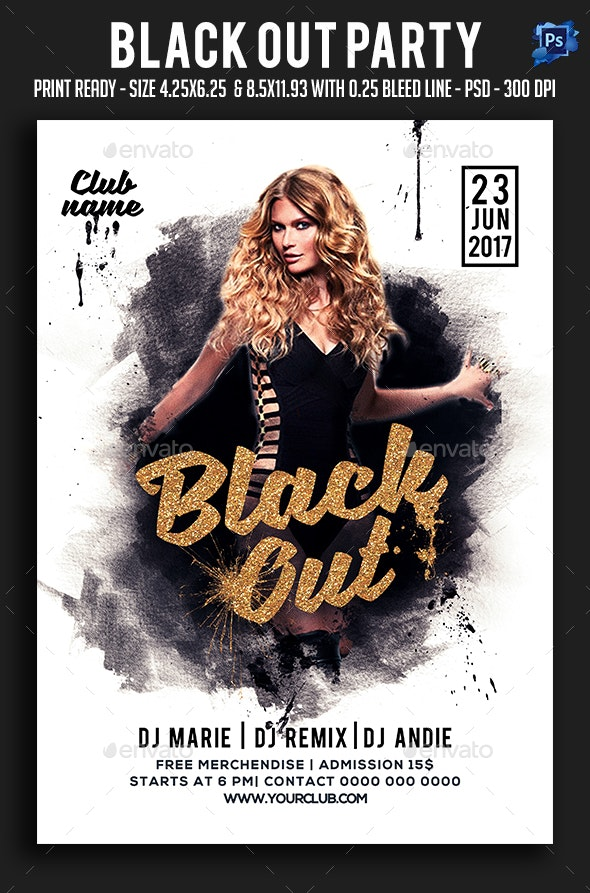 Black Out Party Flyer - Clubs & Parties Events