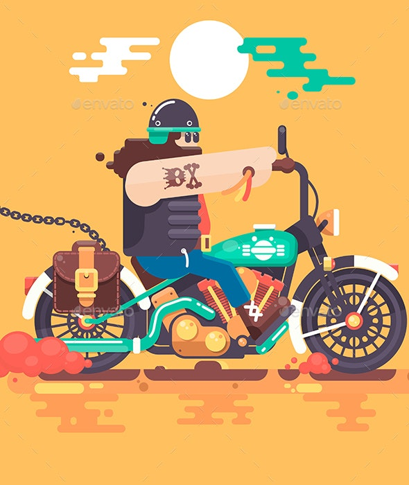 Biker Riding with Racer Helmet on Motorcycle Flat Vector Illustration - People Characters
