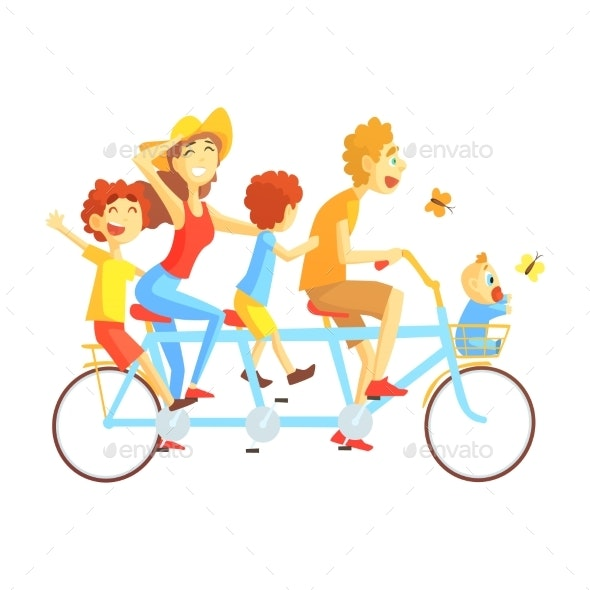Parents and Kids on Triple Seat Bicycle Riding - People Characters